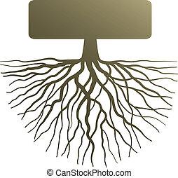 concepto, con, raíz árbol