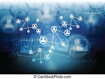 concepto, conectar, plano de fondo, equipo
