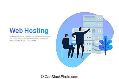 concepto, conjunto, centro, iconos del negocio, mandón, tecnología, aislado, hosting, infraestructura, vector, diseño, illustration., servidores, datos, hombre