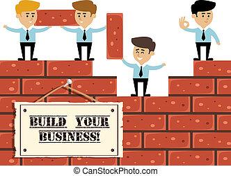 concepto, construya, empresa / negocio