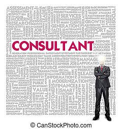 concepto, consultor, palabra, nube, empresa / negocio