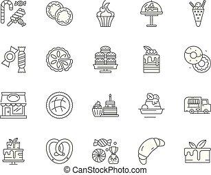 concepto, contorno, confitería, conjunto, iconos,...