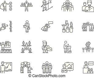 concepto, contorno, conjunto, ejecutivo, iconos, ilustración, vector, mentoring, línea, señales