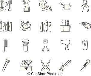 concepto, contorno, conjunto, handtools, iconos, ilustración, vector, línea, señales