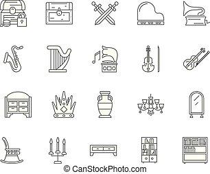 concepto, contorno, conjunto, iconos, antigüedades, vector, ilustración, línea, señales