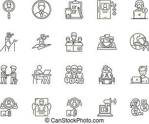 concepto, contorno, conjunto, reclutador, ejecutivo, iconos, ilustración, vector, línea, señales
