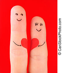 concepto, corazón, familia, pintado,  -, dedos, aislado, mujer, Plano de fondo, Asimiento, rojo, hombre