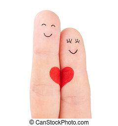 concepto, corazón, familia , pintado, -, dedos, aislado, mujer, plano de fondo, blanco, asimiento, rojo, hombre