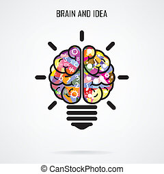 concepto, creativo, cerebro, bombilla, luz, idea, concepto, ...
