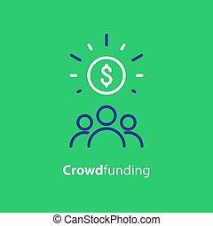 concepto, crowdfunding, consolidación, dinero, icono, línea,...