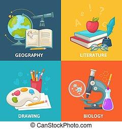 concepto, cuadrado, escuela, colorido