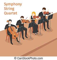 concepto, cuerda, sinfónico, orquesta, vector, plano de...