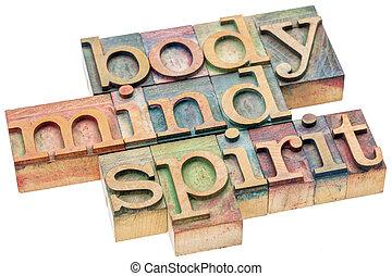 concepto, cuerpo, mente, madera, tipo, espíritu