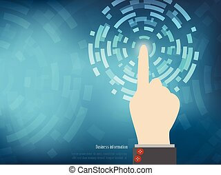 concepto, cyber, mano, fondo., vector, ilustración, seguridad, tecnología, abtract