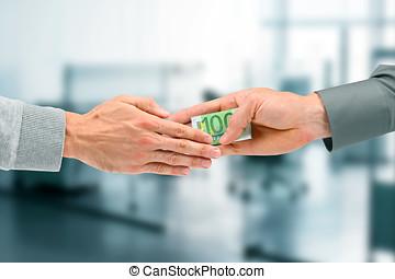concepto, dar, -, soborno, hombre de negocios, corrupción