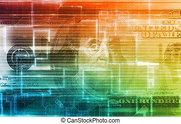 concepto, datos, finanzas, digital