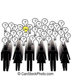 concepto, de, éxito, con, mucho, de, gente, teniendo, un, idea