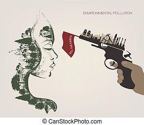 concepto, de, ambiental, contaminación, por, fábricas, contra, naturaleza