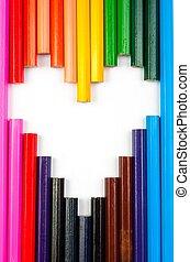 concepto, de, amor, formado, con, lápices