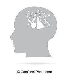 concepto, de, aprendizaje, cabeza y, ciencia, iconos, (vector)