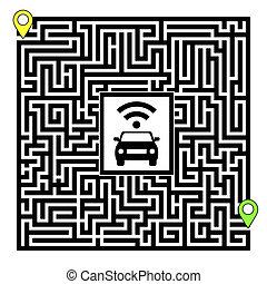 concepto, de, autónomo, coche
