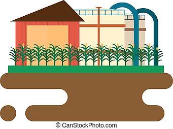 concepto, de, biofuels, refinería, planta, para,...