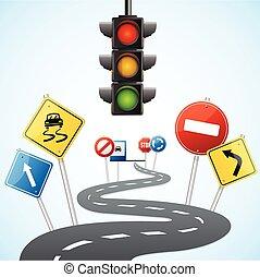 concepto, de, camino, con, tráfico, lights., vector