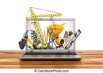 concepto, de, construction., edificio, herramientas, en, computador portatil, screen., 3d, ilustración
