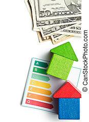 concepto, de, el, casa, energía, ahorro