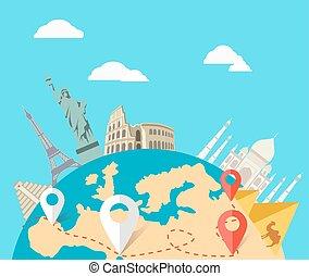 concepto, de, el mundo, aventura, viaje