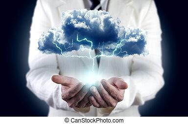 concepto, de, energía, electricidad