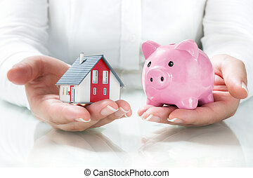 concepto, de, hipoteca, y, ahorros