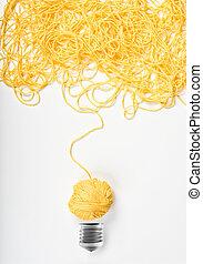 concepto, de, idea, y, innovación, con, lana, pelota