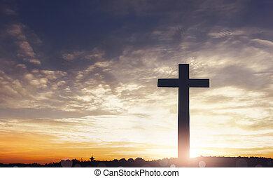 concepto, de, jesús, christ:, cruz, en, cielo de puesta de sol, plano de fondo