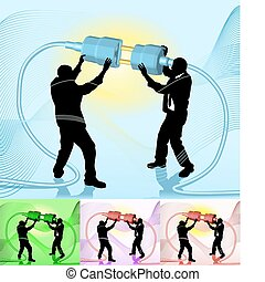 concepto de la corporación mercantil, conectar, ilustración
