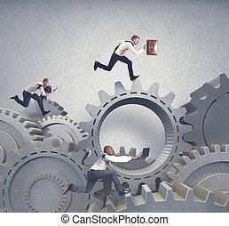 concepto de la corporación mercantil, sistema, competición