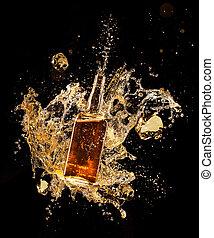concepto, de, licor, salpicar, alrededor, botella, aislado,...