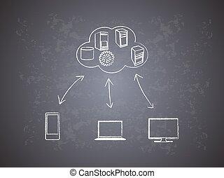 concepto, de, nube, informática, red