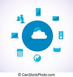 concepto, de, nube, integración