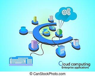 concepto, de, nube, red