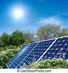 concepto, de, panel solar