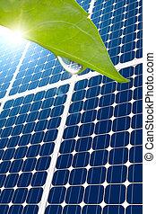 concepto, de, panel solar, y, hoja