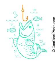concepto, de, pesca, lineal, estilo