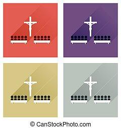 concepto, de, plano, iconos, con, largo, sombra, las personas presente, iglesia