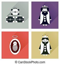 concepto, de, plano, iconos, con, largo, sombra, tradicional, escena navidad