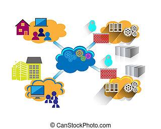 concepto, de, red, y, conectividad