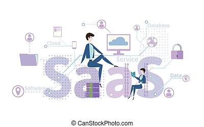 concepto, de, saas, software, como, un, service., nube, software, en, computadoras, móvil, dispositivos, códigos, app, servidor, y, database., vector, ilustración, en, plano, estilo, aislado, en, white.