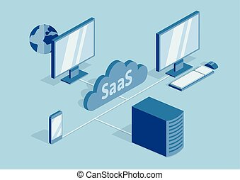 concepto, de, saas, software, como, un, service., nube, software, en, computadoras, móvil, dispositivos, códigos, app, servidor, y, database., vector, isométrico, ilustración, aislado, en, azul, fondo.