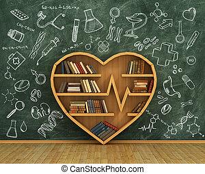 concepto, de, training., de madera, estante libros, lleno,...