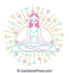 concepto, de, yoga, inear, estilo